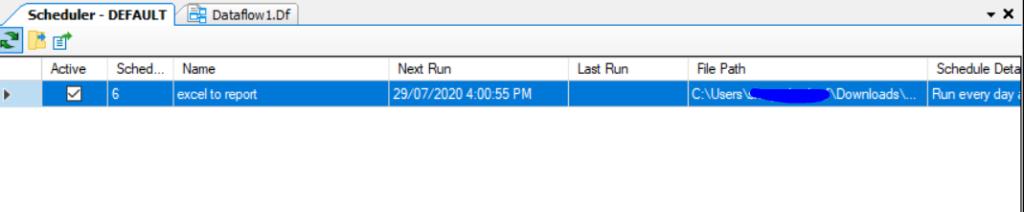 Next Run Workflow scheduling Data extraction Centerprise